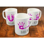 Kislány kéz- és láblenyomat (névre szóló bögre!)