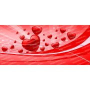 Piros szívek bögre