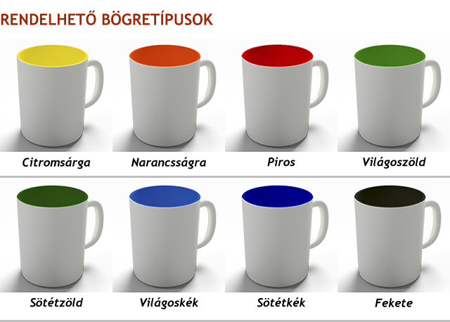 Válassz a fehér helyett színes belsejű bögrét! A színes belsejű bögrék raktárkészlete folyamatosan változik, ha elfogy egy változat, ideiglenesen az a szín nem rendelhető.